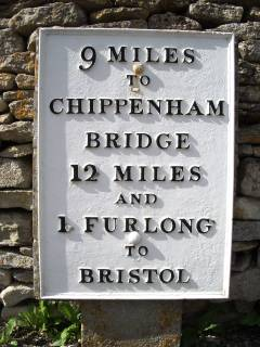 Milestone 9 on the route to Chippenham from Marshfield