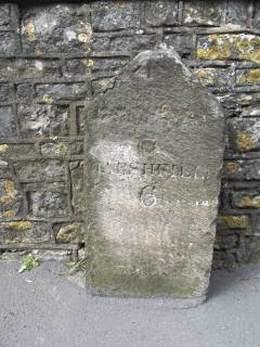 Milestone 6 on the route to Bristol from Marshfield