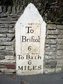 Milestone 6 on the route to Bath from Hambrook